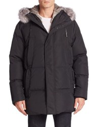Andrew Marc New York Fur Trim Hooded Jacket Ink