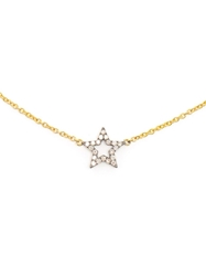 Rosa De La Cruz Micro 18Kt Gold And Diamond Star Pendent Necklace Yellow And Orange