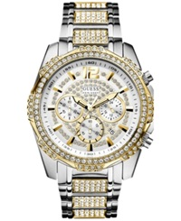 Guess Men's Chronograph Crystal Accent Two Tone Bracelet Watch 47Mm U0291g4