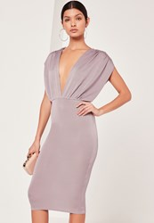 Missguided Plunge Wide Sleeve Midi Dress Grey Grey