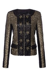 Elie Saab Zipped Paillettes Jacket With Stars Applications Black Gold