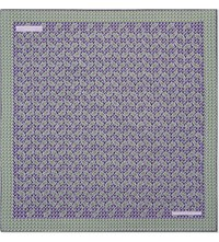 Turnbull And Asser Paisley Zigzag Silk Pocket Square Purple Green