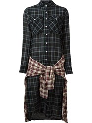 R 13 R13 'Plaid Grunge' Dress Black