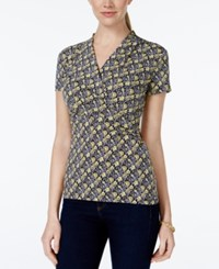Charter Club Short Sleeve Crossover Wrap Top Floral Print
