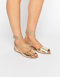 Aldo Aboing Ankle Strap Sling Flat Sandals Gold