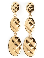 Chanel Vintage Pendant Clip On Earrings Metallic