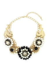 Eye Candy Los Angeles Flower My Neck Bib Necklace Black