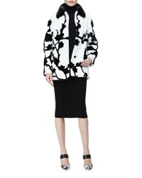 Michael Kors Mink Fur Floral Intarsia Coat Black White
