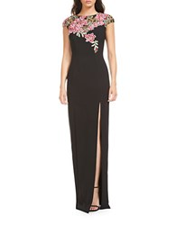 Theia Cap Sleeve Side Slit Crepe Column Gown Black Multi