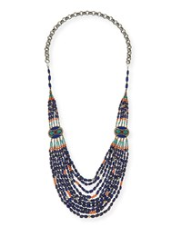 Long Multi Strand Necklace Blue 42' Devon Leigh