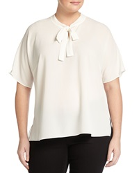 Vince Camuto Plus Short Sleeve Bow Neck Blouse New Ivory