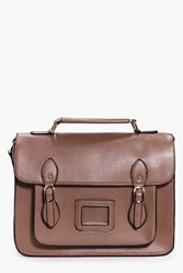 Boohoo Pocket Front Satchel Taupe