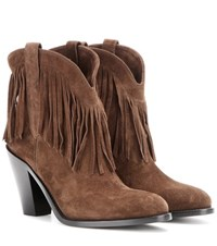 Saint Laurent Curtis 80 Fringed Suede Cowboy Boots Brown