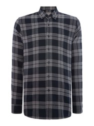 Peter Werth Outward Check Slim Fit Long Sleeve Button Down Sh Charcoal