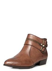 Evans Extra Wide Fit Brown Buckle Ankle Boot