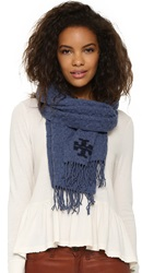 Tory Burch Whipstich Scarf Blue Stone