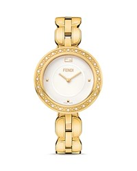 Fendi My Way Yellow Gold Pvd Stainless Steel Watch With Diamonds 36Mm White
