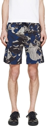 Kenzo Blue Flowers And Stripes Neoprene Shorts