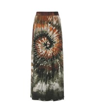 Valentino Printed Pleated Silk Maxi Skirt Multicoloured