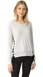 Pam And Gela Side Lace Up Sweatshirt Heather Grey