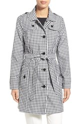 Women's London Fog Gingham Print Single Breasted Trench Coat Black White