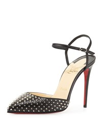 Christian Louboutin Biala Spike Leather Red Sole Pump Black Black Silver