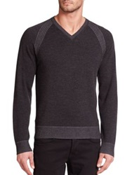 Robert Graham Regan V Neck Wool Sweater Dark Navy Black