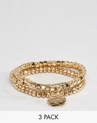 Asos Pack Of 3 Gold Stretch Bead Friendship Bracelets Gold