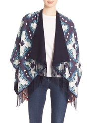 Burberry Prorsum Floral Tie Dye Print Cotton And Silk Poncho Ink