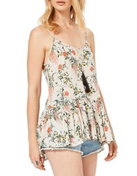 Miss Selfridge Floral Printed Lace Up Back Tank Multi