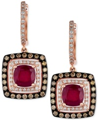 Effy Collection Red Velvet By Effy Ruby 2 7 8 Ct. T.W. And Diamond 3 4 Ct. T.W. Square Drop Earrings In 14K Rose Gold