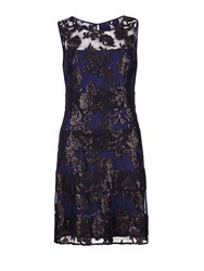 Gina Bacconi Fancy Sequin Lace Fit And Flare Dress Navy