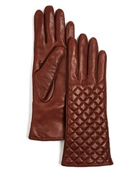 Bloomingdale's 3 Button Length Quilted Leather Gloves Luggage