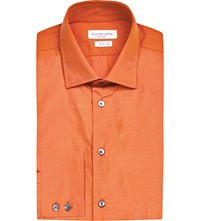 Richard James Tailored Fit Striped Cotton Shirt Orange