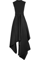 Solace London Harlech Asymmetric Crepe And Satin Gown Black