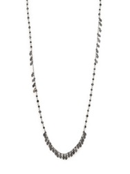 Chan Luu Crystal Beaded Leaf Fringe Necklace Silver