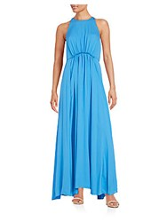 3.1 Phillip Lim Gathered Silk Keyhole Gown Agean Blue