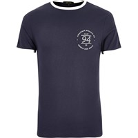 River Island Mens Navy Ringer Muscle Fit T Shirt