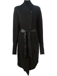 Lost And Found Rooms Long Belted Asymmetric Coat Black