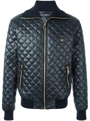 Dolce And Gabbana Quilted Bomber Jacket Blue