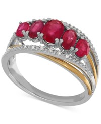 Macy's Ruby 1 3 4 Ct. T.W. And Diamond Accent Ring In Sterling Silver And 14K Gold