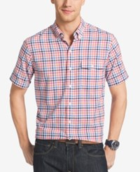 Izod Men's Big And Tall Plaid Short Sleeve Shirt Camellia