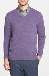 Men's Big And Tall John W. Nordstrom Cashmere V Neck Sweater Purple Night