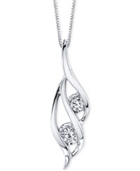 Sirena Two Stone Diamond Pendant Necklace 1 3 Ct. T.W. In 14K Gold Or White Gold