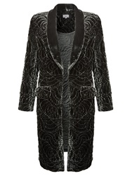 Ghost Long Embroidered Velvet Jacket Smokey Quartz
