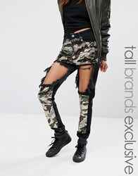 Liquor And Poker Tall Extreme Rip Skinny Jean With Sequin Inserts Camo Green