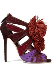 Brian Atwood Vivyan Embellished Leather Trimmed Suede Sandals Violet