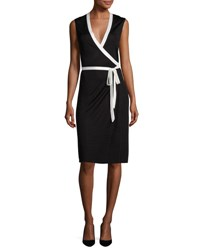 Diane Von Furstenberg Valena Sleeveless Jersey Wrap Dress Black Ivory Black White