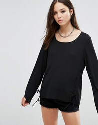Brave Soul Flute Sleeve Top With Lace Tie Side Black