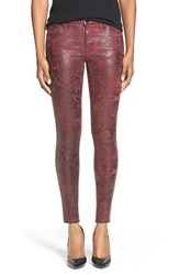 Women's Cj By Cookie Johnson 'Wisdom' Textured Foil Stretch Ankle Skinny Jeans Wine